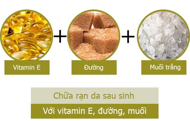Cách làm mờ vết rạn da sau sinh bằng vitamin E, đường và muối