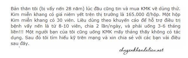 Đánh giá của người bệnh về Kim Miễn Khang
