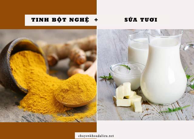 cách trị nám da bằng tinh bột nghệ và sữa tươi