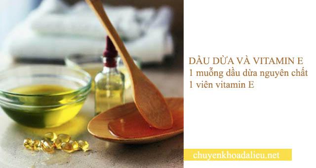 trị nám tàn nhang bằng dầu dừa và vitamin e