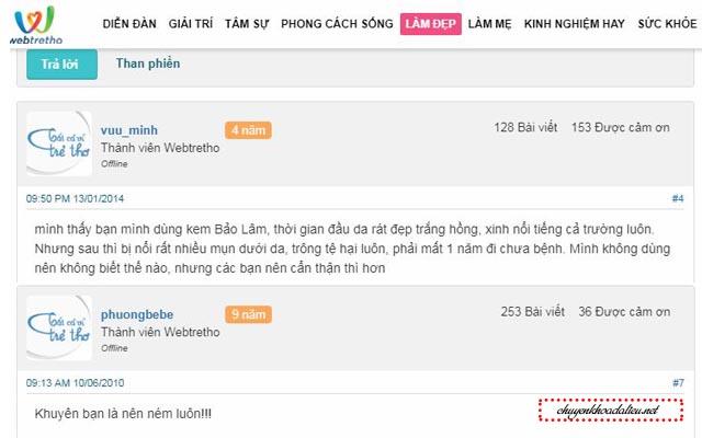 Đánh kem trị mụn Bảo Lâm trên Webtretho