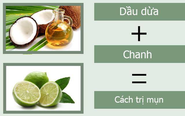 Trị mụn bằng cách dùng dầu dừa kết hợp với chanh