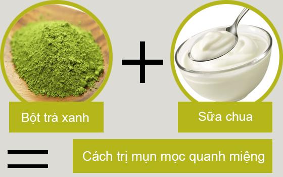 Kết hợp bột trà xanh và sữa chua không đường trị mụn
