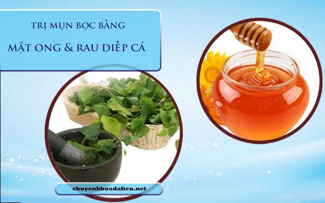 mật ong và rau diếp rau trị mụn