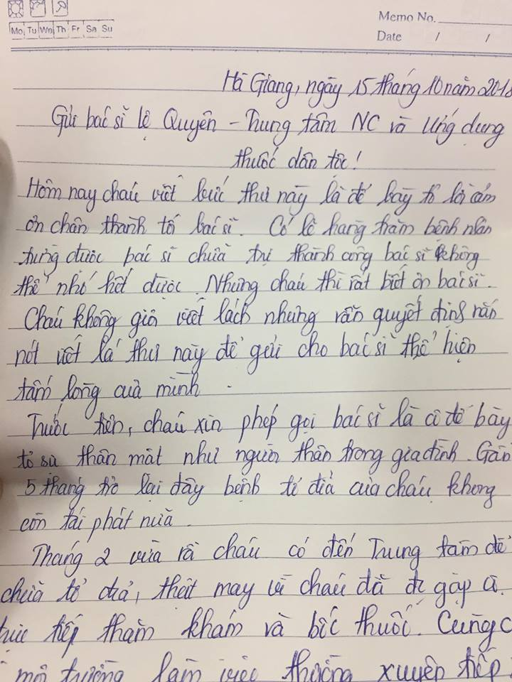 Bức thư tay của bạn Vân Anh gửi tới bác sĩ Lệ Quyên