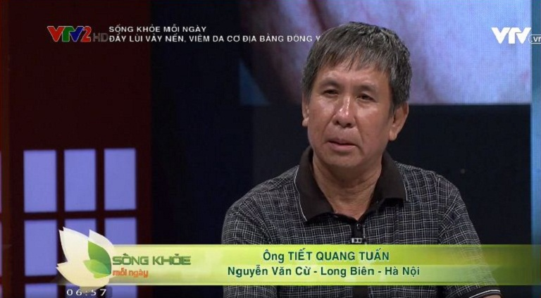 Ông Tuấn chia sẻ hiệu quả của bài thuốc Thanh bì Dưỡng can thang trên VTV2