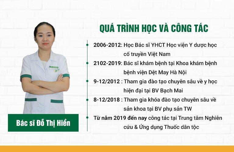 Bác sĩ Đỗ Thị Hiền quá trình học tập và công tác